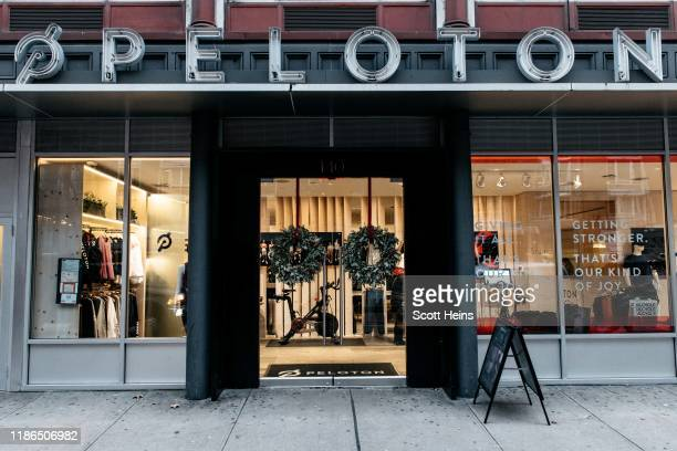 Peloton studio on Manhattan's 23rd Street on December 4, 2019 in New York City. Peloton and its model of on-demand video cycling classes has come...