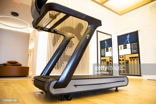 Peloton Tread+ exercise machine for sale at the company's showroom in Dedham, Massachusetts, U.S., on Wednesday, Feb. 3, 2021. Peloton Interactive...