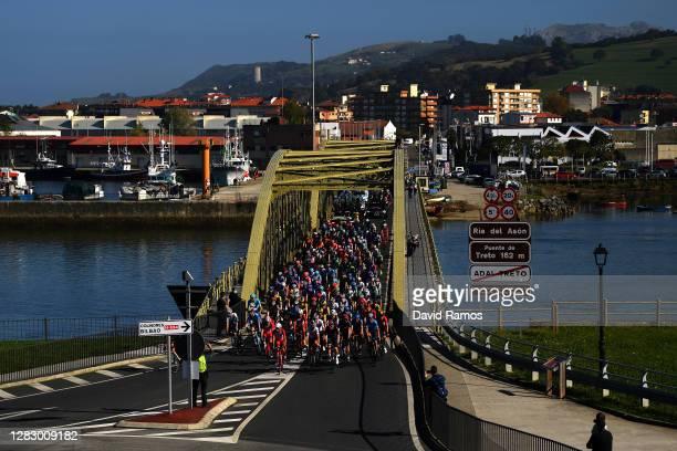Peloton / Treto Village / Asón river / Bridge / Public / Fans / Landscape / during the 75th Tour of Spain 2020, Stage 10 a 185km stage from Castro...