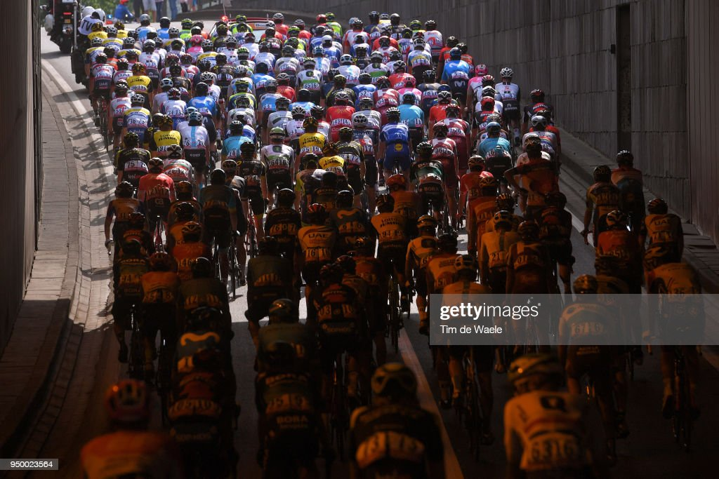 Peloton / Tunnel / Landscape / during the104th Liege-Bastogne-Liege 2018 a 258,5km race from Liege to Liege-Ans on April 22, 2018 in Liege, Belgium.
