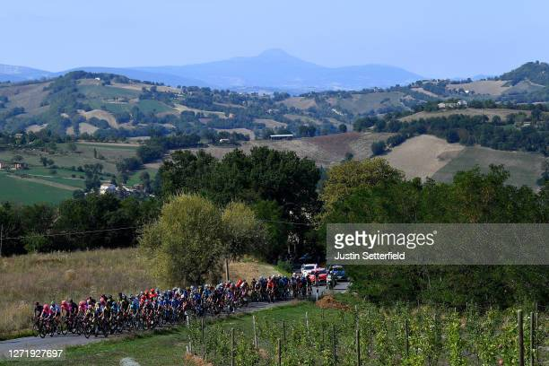 Peloton / Vineyards / Landscape / during the 55th Tirreno-Adriatico 2020, Stage 5 a 202km stage from Norcia to Sarnano-Sassotetto 1335m /...