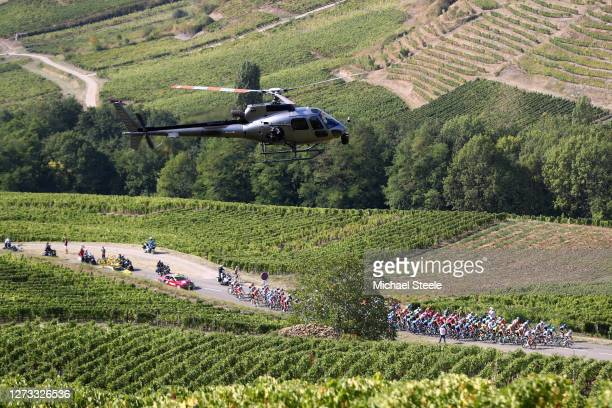 Peloton / Voiteur / Vineyards / Helicopter / Landscape / during 107th Tour de France 2020, Stage 19 a 166,5km stage from Bourg en Bresse to...