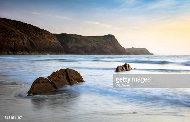 pembrokeshire coastline - shallow stock pictures, royalty-free photos & images