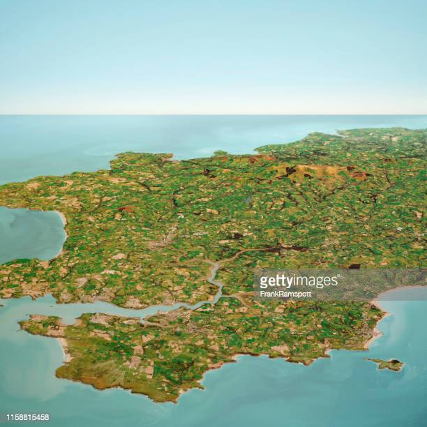 pembrokeshire wales 3d render horizon aerial view from south oct 2018 - frank ramspott stock pictures, royalty-free photos & images