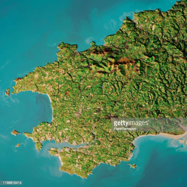 pembrokeshire wales topographic map top view oct 2018 - frank ramspott stock pictures, royalty-free photos & images