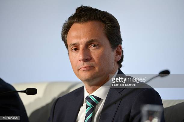 Pemex CEO Emilio Lozoya takes part in a press conference following a meeting of the Oil and Gas Climate Initiative in Paris on October 16 2015 CEO of...