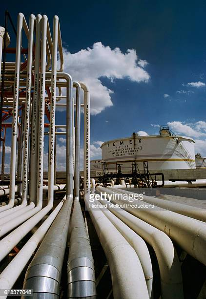 Pemex oil refinery pipelines in Chiapas State in Mexico Pemex is Mexico's national oil company
