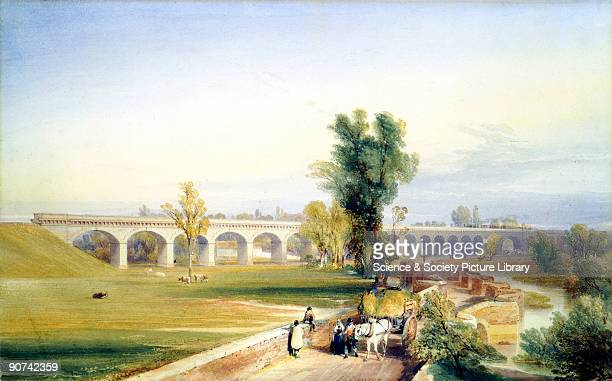 Pen and ink drawing by John Cooke Bourne showing a landscape with the bridge over the Dutch River in the distance and a farmer with his horse and...