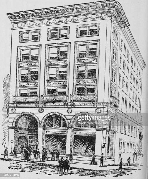 Pen and ink drawing of Steinert Hall, Boylston Street, Boston, Massachusetts, 1878. Courtesy Internet Archive.