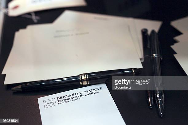 A pen and named stationary sit on display during a media preview of a US Marshals Service Forfeited Jewelry Auction which includes jewelry and other...