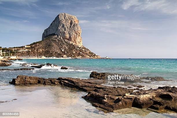peñón de ifach from baños de la reina - calpe stock pictures, royalty-free photos & images