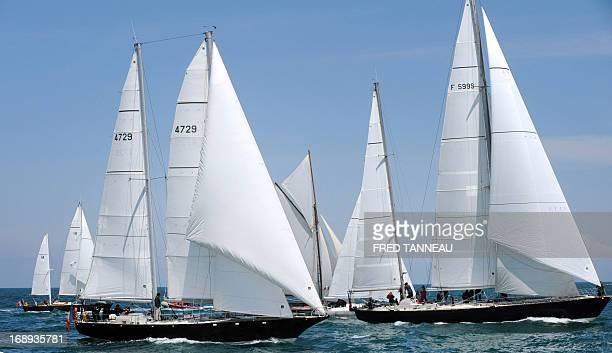 Pen Duick ocean racing yachts sail off the coast of Saint-Quay-Portrieux, western France on May 17 during a trip at sea from Roscoff to...
