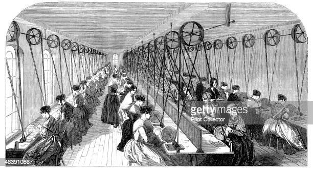 Pen grinding room, Hanks, Wells & Co's factory, Birmingham, West Midlands, 1851. More than 50 women sit at individual grindstones finishing metal pen...