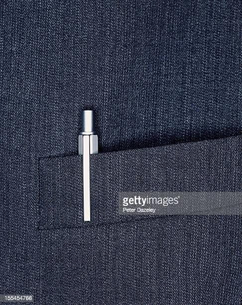 Pen in suit jacket breast-pocket