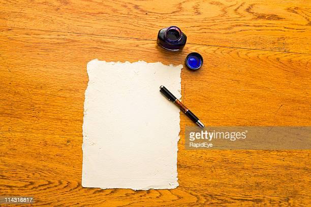 Pen, ink, paper, oak