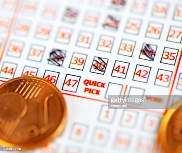 Pen markings on lottery ticket. Filled in lottery ticket