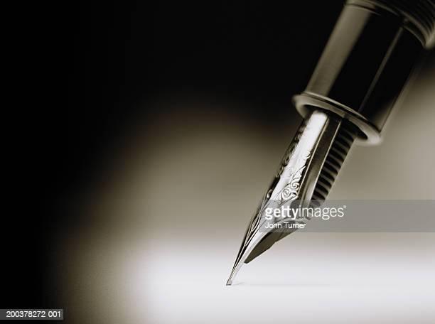 Pen nib, close-up (B&W)