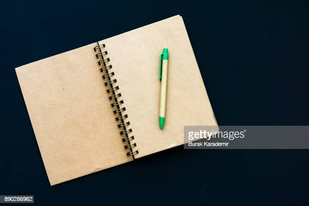 Pen on blank open book