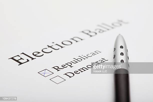 Pen on election ballot slip