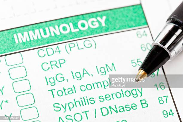pen on immunology form for blood tests - sexually transmitted disease stock pictures, royalty-free photos & images