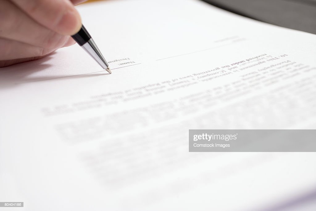 Pen signing document : Stock Photo