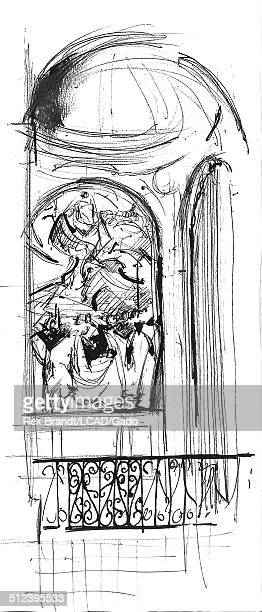 Pen sketch of El Greco's sculpture 'The Burial of the Count of Orgaz' Toledo Spain July 31 1965 Brandt was a cubist and member of the California...