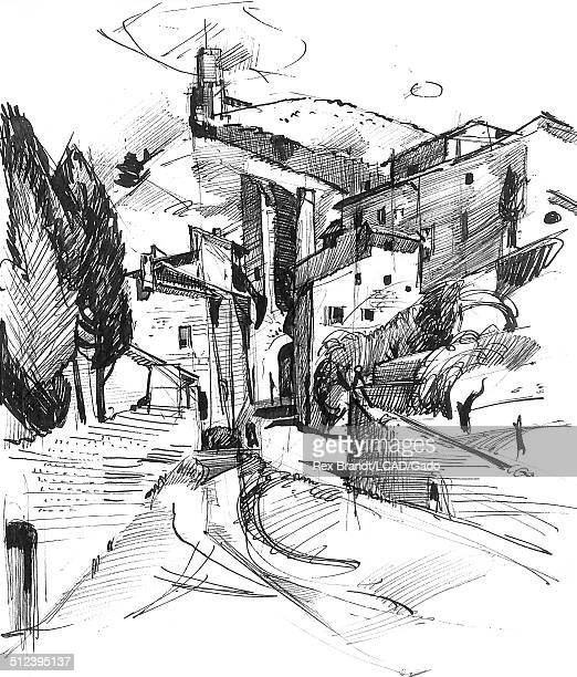 Pen sketch of hillside houses Assisi Italy July 23 1965 Brandt was a cubist and member of the California Watercolor movement