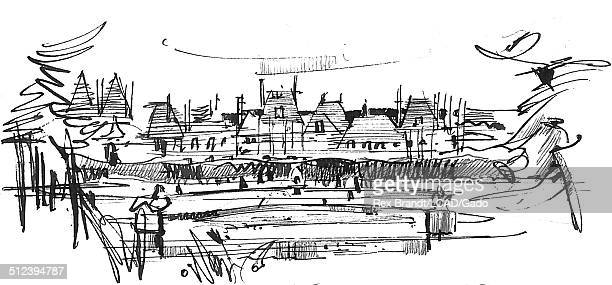 Pen sketch of houses Fontainebleau France July 1965 Brandt was a cubist and member of the California Watercolor movement