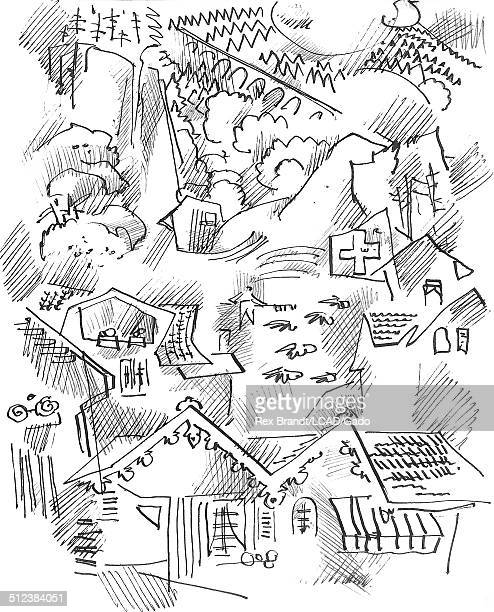 Pen sketch of houses Lauterbrunnen Switzerland June 27 1965 Brandt was a cubist and member of the California Watercolor movement