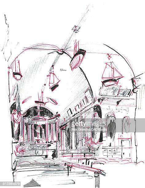Pen sketch of the interior of the Cathedral of Notre Dame de Grace Honfleur France July 6 1965 Brandt was a cubist and member of the California...