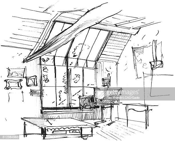Pen sketch show the interior of Theodore Rousseau's studio Barbizon France June 30 1965 Brandt was a cubist and member of the California Watercolor...