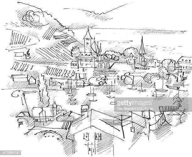 Pen sketch shows houses and spires at Lake Thun Spiez Switzerland June 27 1965 Brandt was a cubist and member of the California Watercolor movement