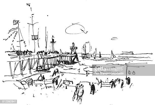 Pen sketch shows people including fishermen at a beach Deauville Normandy France July 4 1965 Brandt was a cubist and member of the California...