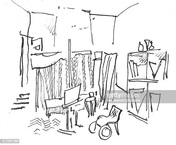 Pen sketch shows the interior of PierreAuguste Renoir's studio and home CagnesSurMer France July 1965 Brandt was a cubist and member of the...