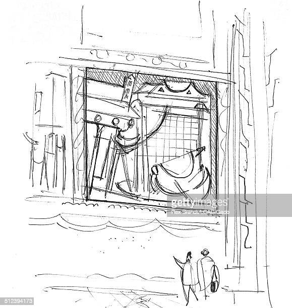 Pen sketch shows tourists in front of a fresco at the Basilica of San Francesco d Assisi Assisi Italy July 23 1965 Brandt was a cubist and member of...