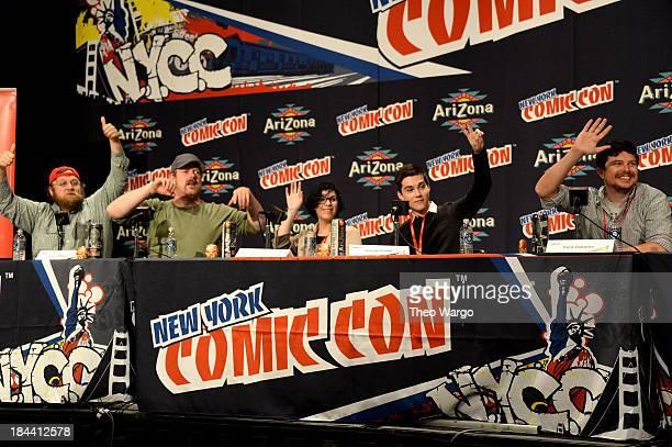 Pen Ward John DiMaggio Rebecca Sugar Jeremy Shada and Kent Osborne speak at the TimesTalks Adventure Time during New York Comic Con 2013 at the...
