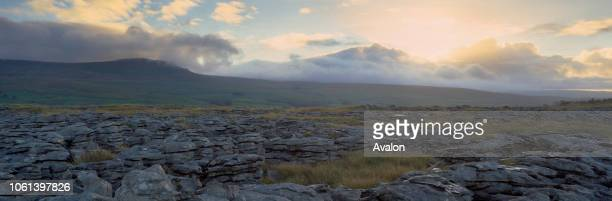 Pen Y Ghent limestone pavement Ribblesdale from Sulber Moss near Horton in Ribblesdale dawn