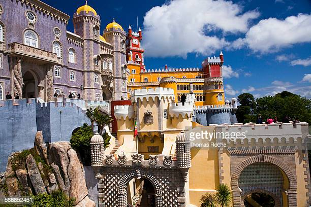 pena palace near lisbon. - sintra stock pictures, royalty-free photos & images
