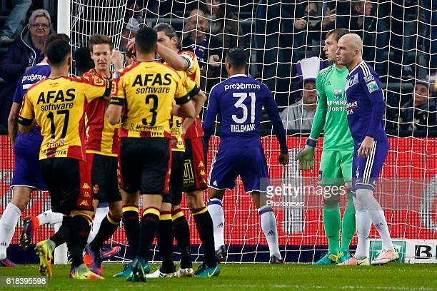 penalty Davy Roef goalkeeper of RSC Anderlecht and Nicolas Verdier forward of KV Mechelen pictured during the Jupiler Pro League match between RSC...