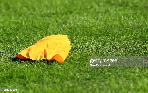 A penalty flag as seen during the game between the Jacksonville Jaguars and the Washington Redskins at TIAA Bank Field on December 16 2018 in...