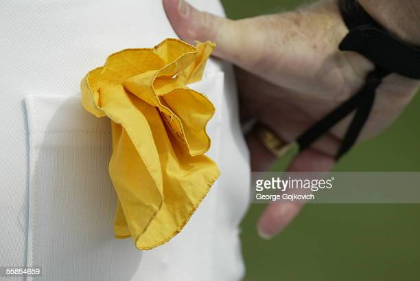 Penalty flag is in the back pocket of National Football League umpire Jim Quirk during a game between the Buffalo Bills and the Atlanta Falcons at...