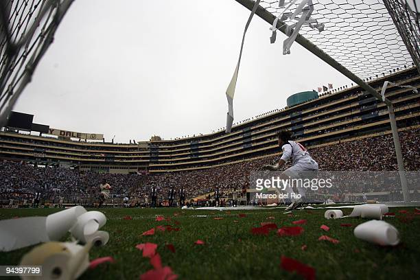 Penalty goal to Universitario de Deportes against Alianza Lima during the second game of the play off in the Copa Cable Magico at Monumental Stadium...