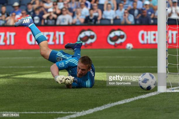 A penalty kick from Columbus Crew forward Gyasi Zerdes is deflected by Sporting Kansas City goalkeeper Tim Melia and off the post in the first half...