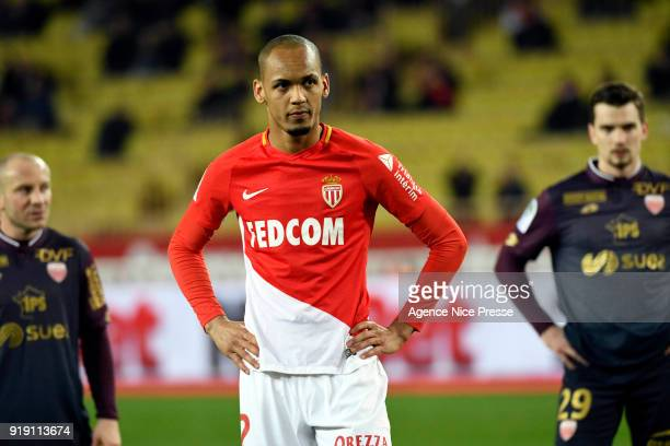 Penalty of Fabinho of Monaco during the Ligue 1 match between AS Monaco and Dijon FCO at Stade Louis II on February 16 2018 in Monaco