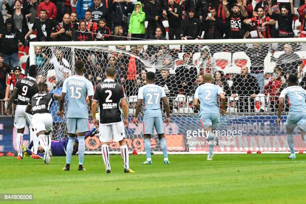 Penalty of Mario Balotelli of Nice during the Ligue 1 match between OGC Nice and AS Monaco at Allianz Riviera on September 9 2017 in Nice