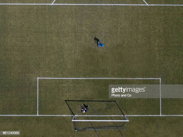 Penalty shoot out, aerial view