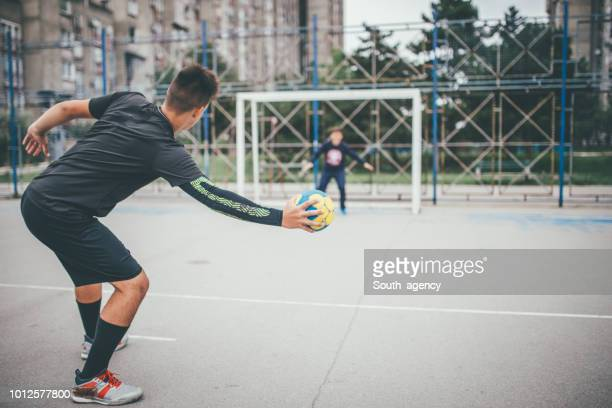 penalty shooting - handball stock pictures, royalty-free photos & images