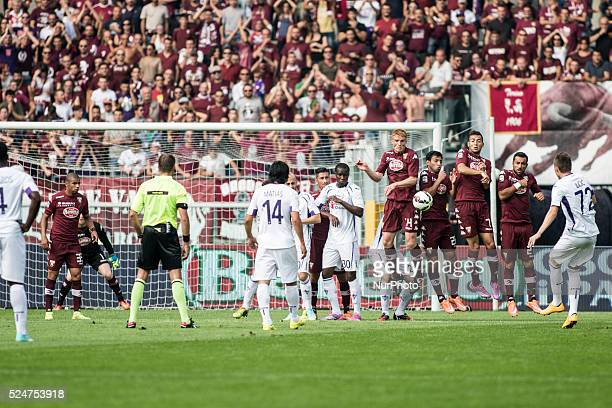 penalty shot of josip ilicic during the Serie A match between Torino FC and fiorentina at Olimpic Stafium on september 28 2014 in Torino Italy