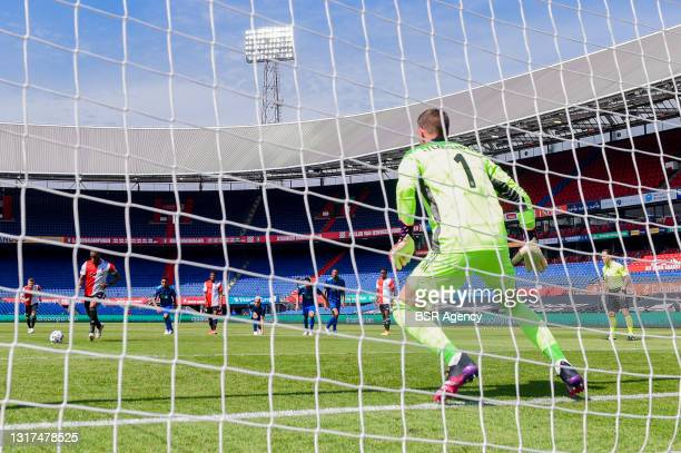 Penalty taken by Leroy Fer of Feyenoord Rotterdam stopped by Goalkeeper Maarten Stekelenburg of AFC Ajax during the Dutch Eredivisie match between...