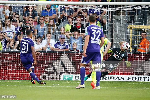 Penalty Youri Tielemans midfielder of RSC Anderlecht scores and celebrates pictured during Jupiler Pro League match between RSC Anderlecht and KAA...